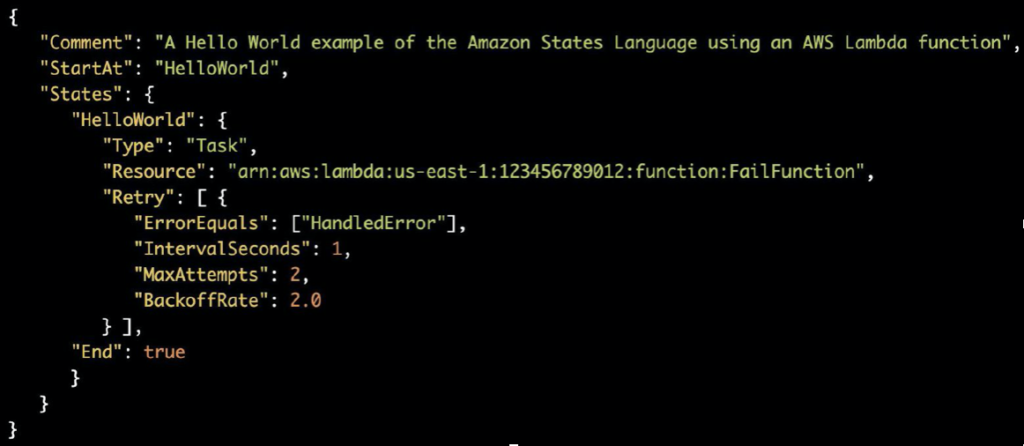 Amazon State Language: Error handling example