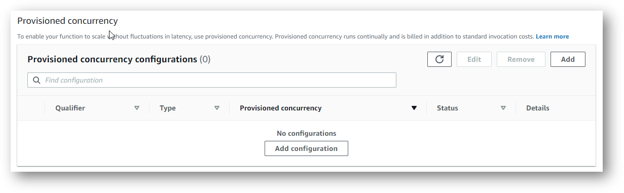 Provisioned concurrency