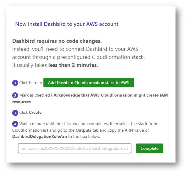 Dashbird automatically monitoring your whole serverless stack and CloudWatch Log groups for Lambda logs, and stitches your whole serverless stack together on the Dashbird app.