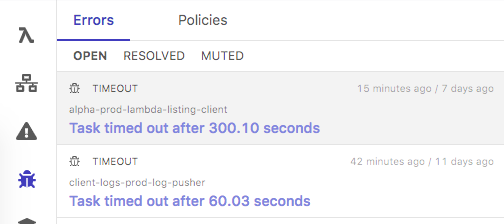 In Dashbird errors are tracked in different states: open, resolved, or muted