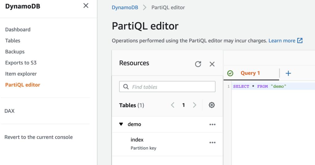 DynamoDB PartiQL query editor