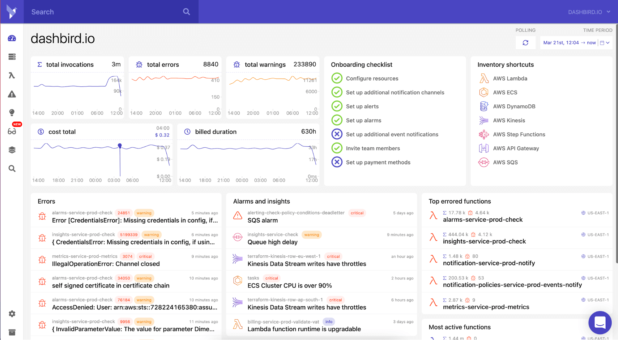 Market leader in serverless observability. Dashbird collects monitoring data from AWS