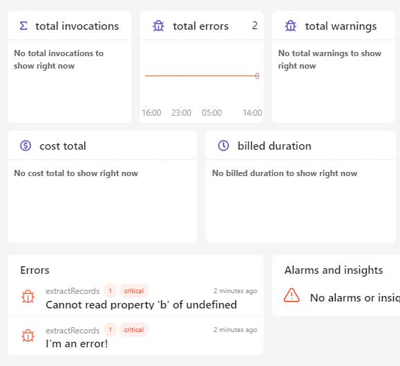 dashbird dashboard showing errors