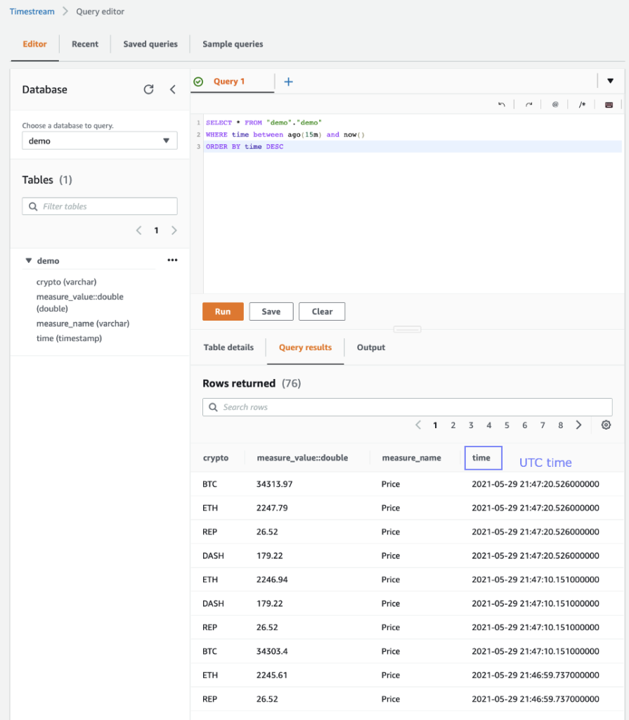 AWS Timestream: exploring the results in the query console