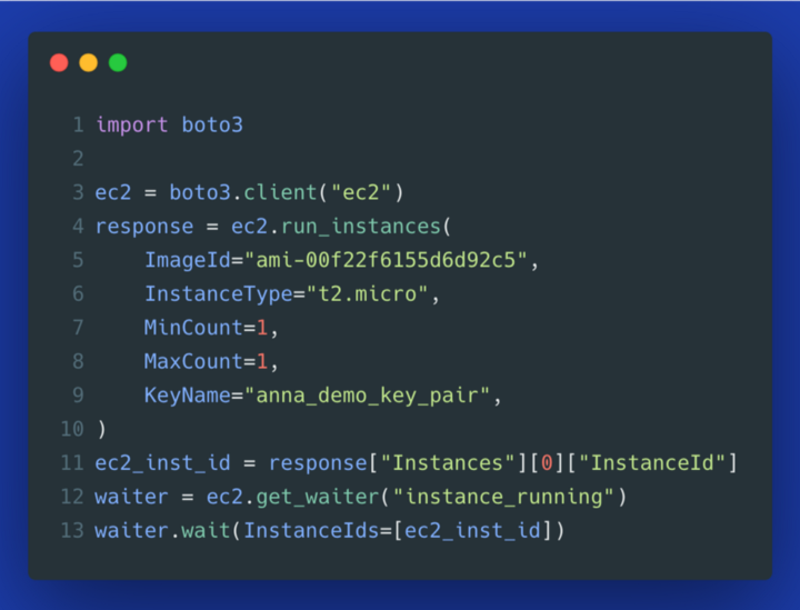 Boto3: using waiter to poll a new EC2 instance for a running state
