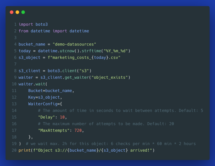 Using waiter in S3 client